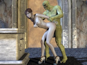 3d girl fucked by a green monster